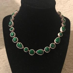 J.CREW SEA GLASS BRULEE NECKLACE EMERALD POOL E646